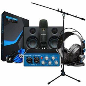 Presonus Audiobox USB 96 Ultimate Bundle Kit d'enregistrement Bleu + pied de microphone Keepdrum