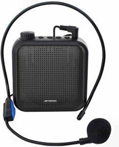 QINGTIAN Amplificateur de Voix,système de sonorisation Rechargeable 12 W (1200 mAh) avec Microphone Filaire pour Les Enseignants,Guide Touristique et Plus Encore