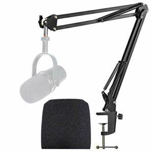 Shure MV7 Support Microphone Professionnel Réglable avec Bonnette Micro en Mousse Améliorant la Qualité Sonore pour Microphone Shure MV7 USB Podcast par YOUSHARES