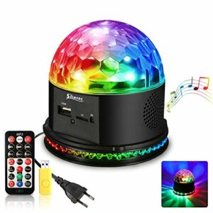 SOLMORE 51 LEDs Lampe de Scène RGB Boule Disco Jeux de Lumière Projecteur à Effet Spot DJ Soirée Haut-Parleur Lecture de Musique 4 Modes Auto/Sound/Strobe/Rotation avec Télécommande 15W 220V