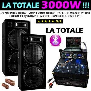 SONO 3000W la totale avec ENCEINTES AMPLI DOUBLE CD USB MIXAGE MEUBLE CABLAGE HP + PC PA DJ MIX LIGHT ANIMATION SOIREE DANSANTE