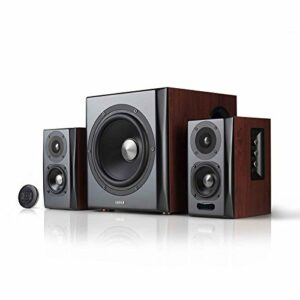 Système d'Enceinte2.1 Edifier S350DB avec Haut parleurd'étagères et Caisson de Basses Audio sans-Fil Bluetooth v4.1 aptX pour Bureaux, Salons et Chambres fermées.