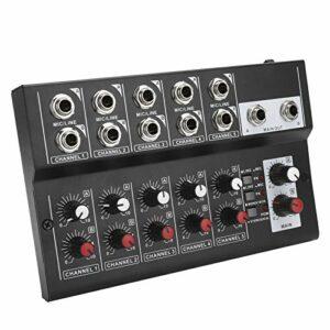 Table de mixage audio portable 10 canaux, table de mixage audio stéréo Karaoké Microphone Amplificateur Console, pour petits studios et karaoké à domicile(UE)
