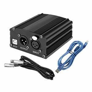 TenYua Câble de microphone portable 1 canal 48 V USB fantôme XLR 3 broches pour tous les microphones à condensateur