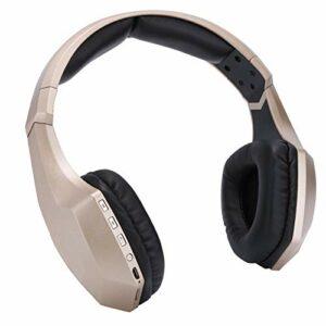 VBESTLIFE Casque Bluetooth, avec lumière LED, Carte de Prise, écouteur stéréo sans Fil, Microphone, Or, léger, ergonomie