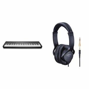 Yamaha P-45 piano numérique avec 88 touches – Compact et transportable – Idéal pour les débutants – Noir & Roland RH-5 Casque Hi-Fi