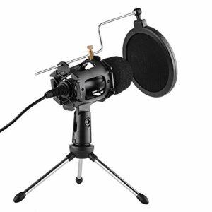 YuanLife Kit de Microphone vidéo pour PC Youtube Vidéo Skype Chat Jeu Podcast Enregistrement de Podcast 3.5mm Plug Accueil Home Stereo MIC Tripod Out