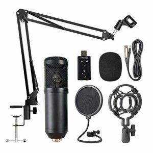 YuanLife Le kit de Microphone de Suspension Professionnelle BM800 est utilisé pour Le Microphone d'enregistrement de Diffusion en Direct Karaoke KTV KTV (Couleur : Noir)