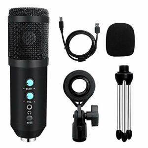 YuanLife Microphone USB condenseur pour PC Youtube Game Vidéo Professionnel Streaming Vocal Enregistrement Studio Microphone (Couleur : Noir)