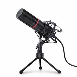ZLDQBH Microphone d'enregistrement à condensateur USB en métal avec trépied pour Ordinateur Portable Enregistrement de Studio cardioïde Voix Off