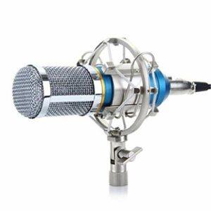 ZLDQBH Microphone Professionnel à condensateur Cardioïde Audio Studio Microphone d'enregistrement Vocal KTV Microphone karaoké + Support Antichoc