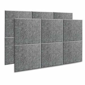 AGPTEK Lot de 12 Mousses Acoustiques 30 * 30 * 1cm, Traitement Acoustique pour Studio, panneaux absorbants acoustiques haute densité