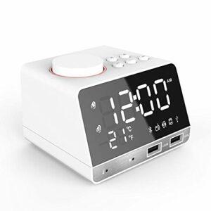 ARCH Enceinte Bluetootn Haut-Parleur Bluetooth Radio-réveil, Affichage Stéréo Creative Music Horloge, USB Double Alimentation, Bluetooth 4.2 Parfait for Salle De Bain, Maison Haut-Parleur Bluetooth