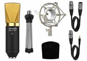 Audibax – Berlin 1800 Gold Pack – Microphone condensateur – Pour studio d'enregistrement ou directes – Motif polaire cardioïde – Grand diaphragme – Kit comprenant griffe, coupe-vent, trépied et câbles