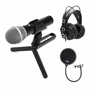Audio-Technica ATR2100X-USB Lot de 3 microphones USB/XLR avec filtre Knox Gear Pop et casque TH-03