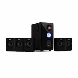 AUNA Concept 520 5.1 – Système d'enceintes 5.1, Puissance: 75W RMS, Subwoofer OneSide, Balanced Sound Concept, Fonction Bluetooth, Port USB, Emplacement SD, Tuner FM, Télécommande – Noir