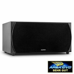 auna Linie 501 SW BK subwoofer Actif Deux Voix idéal pour Home cinéma (avec amplificateur intégré, contrôle de la Phase, entrée RCA, 35hz – 200hz, 250W RMS) – Noir