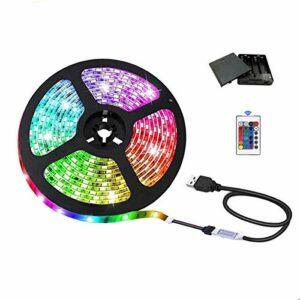 Bande lumineuse LED USB 5050 RGB 5 V avec boîtier à piles et télécommande