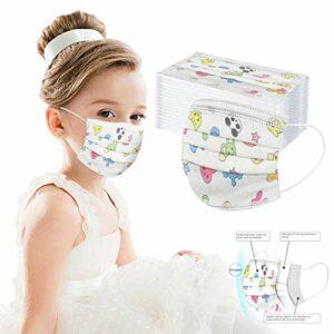 BIBOKAOKE Lot de 50 bandanas jetables 3 couches anti-poussière respirants pour garçons et filles