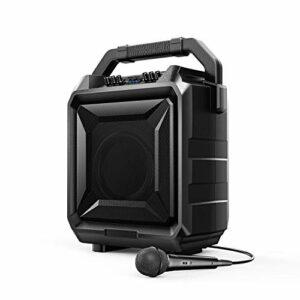 Bomaker PA Anlage Tragbare Karaoke Anlage Bluetooth-Lautsprecher DJ PA System mit Mikrofon unterstützt USB, AUX-IN, E-Gitarre Ideal für Geburtstag, Hochzeit, Party