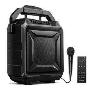 Bomaker,Sonorisation Portable,Enceinte Sono Portable,Haut-parleur Bluetooth avec Microphone et Télécommande,Karaoké Rechargeable,Radio FM,USB*2,Prise Guitare,Outdoor et en Famille