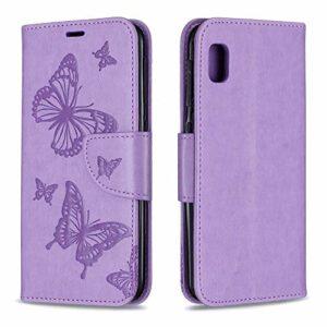 Coque pour Galaxy A10e Coque,Housse en Cuir Flip Case Portefeuille Etui avec Stand Support et Carte Slot pour Samsung Galaxy A10e – EYBF080122 Violet