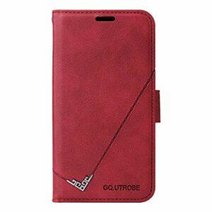 Coque pour Xiaomi Redmi Note 8T Housse, Etui en Cuir PU Portefeuille Coque avec Fente Carte, Fermeture Magnétique und Flip Béquille pour Xiaomi Redmi Note8T – JEYTB010692 Rouge