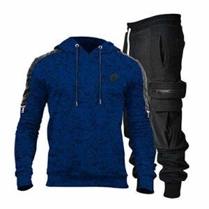 Dasongff Survêtement de sport pour homme, combinaison de course, gym, fitness, course à pied, extérieur, combinaison de loisirs, sport, fitness, pantalon à capuche, pantalon