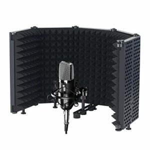 Docooler Pare-Vent à 5 Panneaux de Bouclier d'isolation de Microphone pour l'éponge absorbante Haute densité Pliable de Studio d'enregistrement