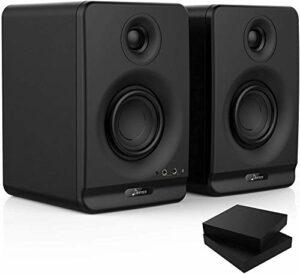 Donner 3» Moniteur de Studio avec CSR professionnel Bluetooth 5.0, paquet de 2, y compris les tampons d'isolation de moniteur audio de studio (Dyna3 Noir, Paire)