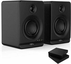 Donner 4» Moniteur de Studio avec CSR professionnel Bluetooth 5.0, paquet de 2, y compris les tampons d'isolation de moniteur audio de studio (Dyna4 Noir, Paire)