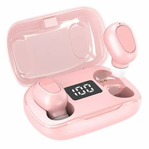 Écouteur sans fil Bluetooth 5.0, casque stéréo intra-auriculaire, avec mini boîtier de charge grande capacité, câble de charge, capuchon d'oreille et manuel, pour le sport, l'entraînement(rose)