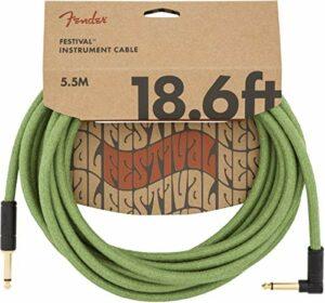 Fender® Festival – Câble Pour Instrument En Chanvre – 5.5m – Droit/Angle – Vert