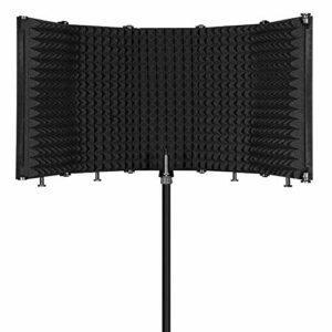 Fesjoy Blindage de Microphone à Isolation Acoustique, Panneau d'enregistrement Vocal Absorbant Acoustique réglable Pliable