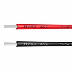 Haerkn Fil électrique 1416182022AWG Calibre 20Pieds [3m Noir et 3m Red] Coque en Silicone Fil–Souple et brins de Fil de cuivre étamé
