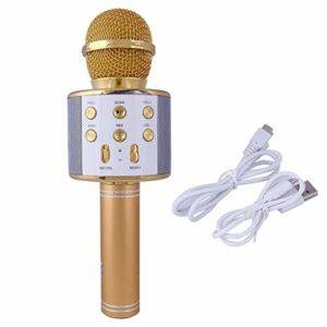 JIE KTV Microphone de Poche Karaoké sans Fil Lecteur USB Micro Haut-Parleur Or