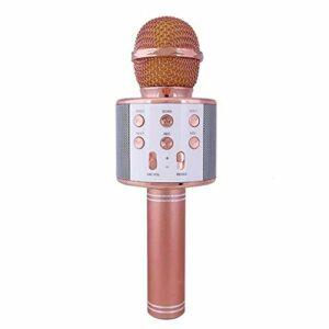 JIE Microphone sans Fil à condensateur Professionnel karaoké Support de Micro Radio Mikrofon Or Rose