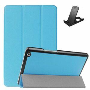 Jorisa Coque pour Huawei MediaPad M3 Lite 8.0,Étui à Rabat Magnétique en Cuir PU Mince Léger Housse Couverture avec Support Multi-Angle Réglable,Bleu Ciel