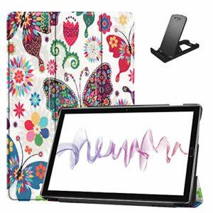 Jorisa Coque pour Huawei MediaPad M6 10.8 2019,Étui à Rabat Magnétique en Cuir PU Mince Léger Housse Couverture avec Support Multi-Angle Réglable,Papillon Coloré