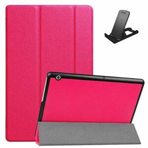 Jorisa Coque pour Huawei MediaPad T3 10.0,Étui à Rabat Magnétique en Cuir PU Mince Léger Housse Couverture avec Support Multi-Angle Réglable,Rose Rouge