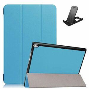 Jorisa Coque pour Lenovo TAB4 10 Plus TB-X704F/704N,Étui à Rabat Magnétique en Cuir PU Mince Léger Housse Couverture avec Support Multi-Angle Réglable,Bleu Ciel