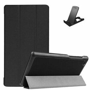 Jorisa Coque pour Lenovo Tab4 7 Essential(TB-7304F/7304N/7304X/7304I),Étui à Rabat Magnétique en Cuir PU Mince Léger Housse Couverture avec Support Multi-Angle Réglable,Noir