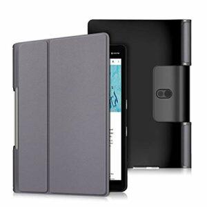 Jorisa Coque Tablette pour Lenovo Yoga Smart Tab/Yoga Tab 5 YT-X705F 10.1,Étui à Rabat Magnétique en Cuir Mince et Léger Housse Couverture avec Fonction Support,Gris