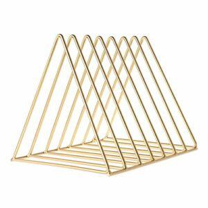 KERDEJAR métal Fer Stockage LP Support d'enregistrement Triangle en Forme de Livre Magzine Titulaire Multifonction Bureau Enregistrement étagère Organisateur Maison Bureau décor