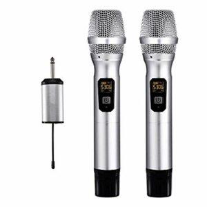 LDDZB 25 Microphone Dual Microphone Hireless avec Un Mini récepteur Portable 1/4″Sortie, pour l'église/Accueil/Karaoké/Réunion d'affaires