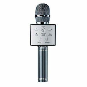 LDDZB Microphone de karaoké Bluetooth, micro haut-parleur portable, compatible avec Android/iOS/PC/smartphone pour conférence de mariage, or rose (couleur : gris foncé)
