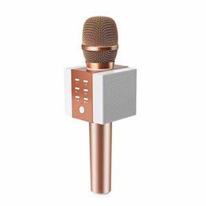 LDDZB Microphone portable sans fil Bluetooth pour karaoké, doré (couleur : rose)