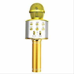 LDDZB Microphone portable sans fil Bluetooth pour karaoké – Mini USB – Pour la maison – Pour écouter de la musique – Lecteur de haut-parleur, enregistreur de chant, micro (couleur : doré)