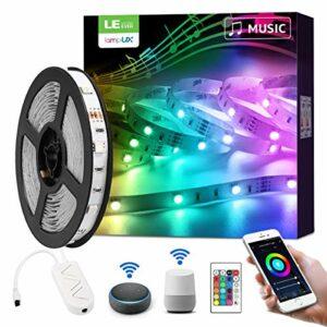 LE 5M Ruban LED Musique WiFi Smart, 16 Millions de Couleurs, 5050 RGB 150 LEDs, Bande Lumineuse Connectée WIFI, Smartphone APP Connecté en un Clic, Fonctionne avec Alexa et Google Home