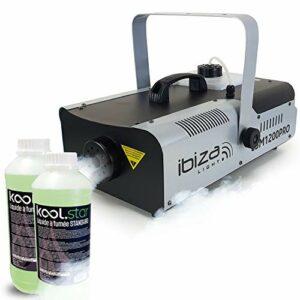 Machine à fumée Ibiza Light LSM1200PRO programmable avec DMX – 2 télécommandes – 1200W + 2L de liquide inclus